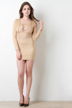 Shop Suede Lace Up Long Sleeve Mini Dress featuring faux suede, lace up v-neck, long sleeves, bodycon mini fit, and back zipper closure. Model Outfits, Sexy Outfits, Sexy Dresses, Beautiful Dresses, Girls Dresses, Indian Actress Hot Pics, Girls In Mini Skirts, Leather Dresses, Long Sleeve Mini Dress