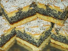 Rozi Erdélyi konyhája: Mákos rácsos Poppy Seed Cookies, Poppy Cake, Hungarian Recipes, Spanakopita, Ham, Cake Recipes, Food And Drink, Favorite Recipes, Sweets