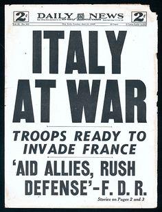 "Daily Mirror headline, June 11, 1940: ""Italy At War"""