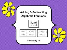 These task cards will provide lots of practice for your students!  There are 60 problems to use to practice adding and subtracting algebraic fractions with and without factoring. Suggestions of activities are included. This set of questions is very versatile and good for use in an Algebra I or Algebra II course. Questions can be sorted to make an easier set or a more challenging one. An answer key is included.  CCSS A-APR