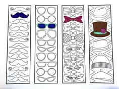 One 8.5x11 PDF coloring page of 4 bookmarks with different hipster designs, including: mustaches, glasses, bow ties, and hats! Each bookmark is 2 inches wide and 7 inches tall. Simply color the bookmarks and cut them out! Fun for all ages. Great as gifts! Relieve stress, or just relax and have fun using your favorite colored pencils, pens, watercolors, paint, pastels, or crayons. Print on card-stock paper or other thicker paper (recommended). Original art by Devyn Brewer (DJPenscript). Fo...