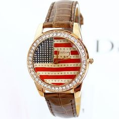 Aliexpress.com : Buy Gogoey Brand PU Leather Watch Women Fashion US National Flag Diamonds Wristwatches Free Shipping from Reliable watch wr...