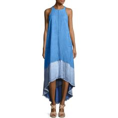 Trina Turk Phlox Hi-Lo Chambray Dress ($298) ❤ liked on Polyvore featuring dresses, hi low dress, blue midi dress, blue hi low dress, midi dress and sleeveless dress