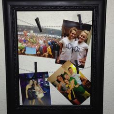 Spray painted picture frame from goodwill, beads, clips, and pictures! Finally made a pinterest creation