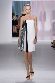 """Dior Spring Summer 2013 Ready-to-Wear – Look 46: White and pink wool/silk, black organza and green metallic organza pleated """"A line"""" dress. Discover more on www.dior.com #Dior#PFW"""