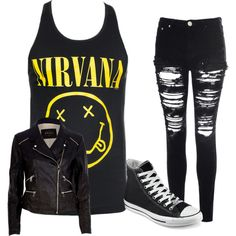 nirvana by graciefarber on Polyvore featuring River Island, Glamorous and Converse