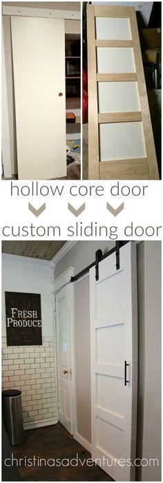 tutorial for how to transform a hollow core door into a custom sliding door