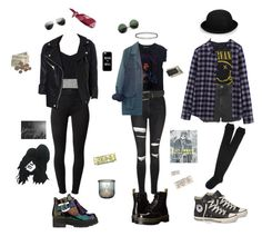 """rockers"" by collins-emilymae on Polyvore featuring Dr. Martens, To Be Announced, J Brand, Fanpac, Topshop, Uniqlo, River Island, Converse, Maje and Motel"