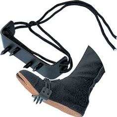 Tabi Boots Not Included  Ninja foot spikes are used as a weapon and to climb trees and walls.  These ninja foot spikes are made of black steel and come with a laced closure to secure to the shoe or tabi boot. Sold as a pair.