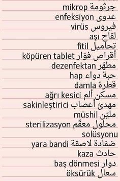 Medical terms in Turkish
