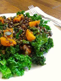 Rosenoisettes, Calme et Gourmandises...: Poêlée de lentilles vertes, butternut et chou kale...