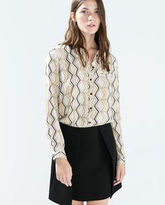 Multicolor Geometric Print SHIRT WITH CONTRASTING COLLAR @ ZARA $60