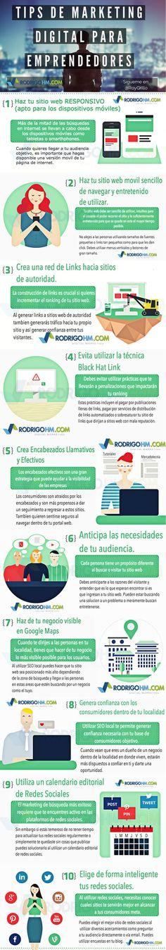 consejos de marketing digital para emprendedores #infografia Leia os nossos artigos sobre Marketing Digital no Blog Estratégia Digital em http://www.estrategiadigital.pt/category/marketing-digital/