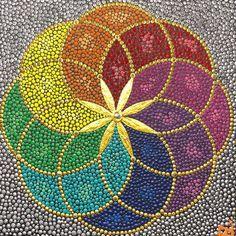Geometry dotpainting mandala dotart 40x40cm | Etsy