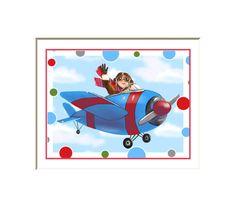 Airplane art print for kids airplane decor by HamiltonArtandDesign