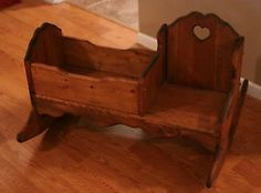 Child's Wooden Rocker Rocking Chair W/baby Doll Cradle Handcrafted