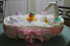 Tutorial for the cutest diaper tub. It could even be a centerpiece instead of a gift.