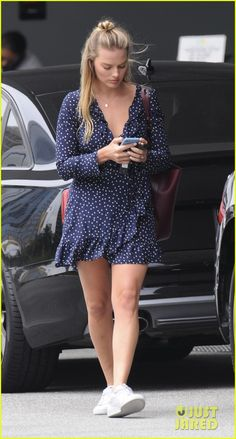 Margot Robbie Steps Out for Sushi in Polka Dot Summer Dress