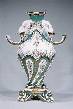 objectcuriosity:    Vase, designed by Jean-Claude Duplessis, made by Sevres Manufactory, c.1756-62, France, soft paste porcelain, Metropolitan Museum of Art.  The elephant head vases were the most unusual and original of the vases produced at Sevres. They were very costly to produce, and only twenty-two have survived.