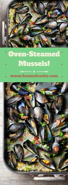 Use your roasting pan for making oven steamed mussels with bacon and leeks in this fast and easy recipe!