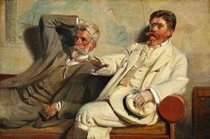 Michael Ancher: Study of painters Laurits Tuxen and P. S. Krøyer discussing an artwork in Krøyer's studio.