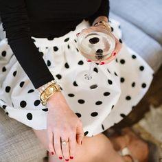 Polka dots and a black turtleneck.