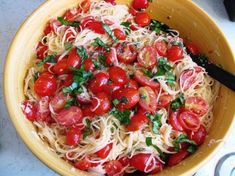Summer Garden Pasta - cherry tomatoes, basil, angel hair, garlic, parmesan, and italian dressing -- DELICIOUS!!!