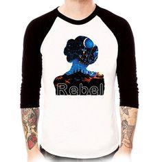 leia rebel raglan baseball t shirt 3/4 sleeve