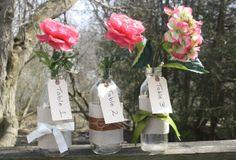 Easy DIY Wedding Centerpiece Flowers Milk Bottles Table Numbers :-)