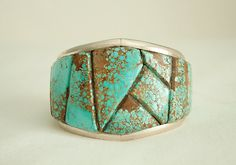 Cuff | Designer ? (Navajo) Turquoise and sterling silver