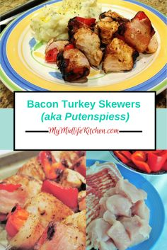 Wrapped, Skewered & Grilled: Turkey Kebaps - My Midlife Kitchen Bbq Skewers, Fruit Kabobs, Sliced Turkey, Turkey Bacon, Fancy Appetizers, Creamy Garlic Sauce, Bbq Seasoning, Family Meals, Family Recipes