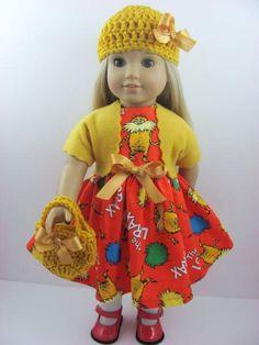 The Lorax Organic Doll Dress, Sash, Shrug, Hat, and Handbag for the American Girl Doll