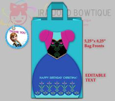NEW EDITABLE ANNA Frozen Gift Bag Fronts Git by IraJoJoBowtique