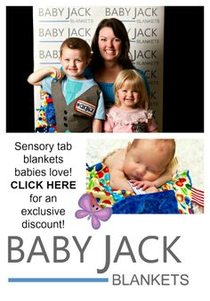 Sensory Tab Blankets from Baby Jack Blankets.  Created by a mom, Kelley Legler.  Made in the USA. @Push Pack