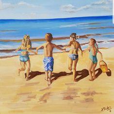 Ein schönes Bild für das Kinderzimmer #kinder #strand #Urlaub #spass #ölmalerei Strand, Painting, Art, Mental Health Therapy, Beautiful Pictures, Child Room, Vacations, Nice Asses, Art Background
