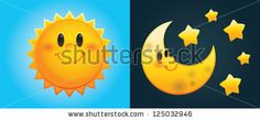 Day and Night: Cute cartoon sun and moon with stars - stock vector