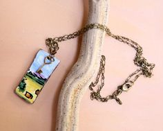 Little bales of hay in a Tuscan Valley.  Italy Countryside Tile Necklace with Key Charm by bonnieline, $40.00