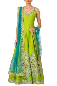 Green mirror work and gota patti embroidered anarkali set available only on Carma Online Shop. Designer Suits Online, Designer Dresses, Bridal Outfits, Bridal Dresses, Wedding Dress, Indian Dresses, Indian Outfits, Robe Anarkali, Green Lehenga
