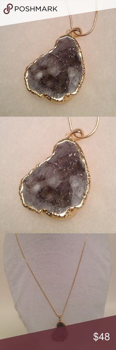 """Genuine Gray Druzy Pendant NWOT Genuine Gray Druzy Pendant , Gold Dipped Plated Metal , Nickel And Led Free , Pendant On 24"""" Gold Chain Boutique Jewelry Necklaces"""