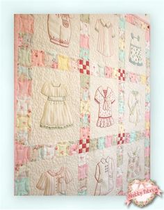 """Betsy's Closet In Stitches Pattern: This darling wallhanging is an excellent choice for any little girl's room.  Nine adorable outfits are hand-embroidered and finished off with pieced sashing and borders.  Pattern includes all instructions to complete the 24"""" x 28 1/2"""" project.  Add the .005 Brown Micron pen below to mark your stitch lines."""