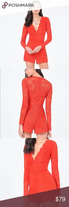 "❤Bebe Scallop Lace Romper in Red NEW WITH OUT TAGS Devastatingly sexy lace romper with a deep V-neck, sheer back and scalloped edges. Hidden back hook-and-eye and zip closure. Partially lined. 50% Nylon, 49% polyester, 1% spandex Hand wash Imported Rise: 12"" (30.5 cm), inseam: 3"" (7.5 cm), leg opening: 22"" (56 cm) Model is 5'9"" and wears a US size 6 no trades 🙈❤ bebe Dresses"