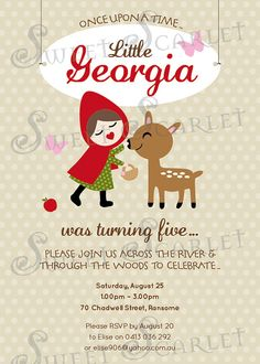 LITTLE Red Riding Hood Invitation for by SweetScarletDesigns, $12.00