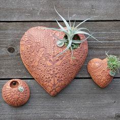 Lace Embossed Ceramics for all my air plants! Clay Art Projects, Ceramics Projects, Ceramic Pottery, Pottery Art, Pottery Ideas, Clay Owl, Clay Clay, Slab Ceramics, Clay Studio