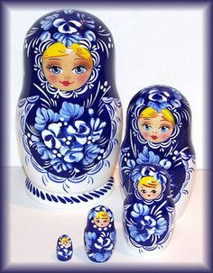 Russian Wooden Nesting Dolls Matreshka Stocking Matryoshka Blue White 5PCS5 Pcs | eBay