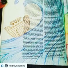 We love the variety of ways that people are Bible journaling!! Some paint some use multi-media others like @keithlynherring used pencil crayons to create a gorgeous page full of motion and energy as it features a page in Genesis with Noah's Ark. Use what you have!  Anything is something awesome! How you create is unique and special to YOU! This is truly beautiful!! Thank you! #Repost #repostedwithpermission #biblejournaling #bibleart #craftedword #creativeword #biblejournalingcommunity…