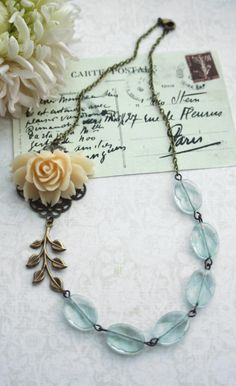 Wedding Necklace. Ivory Creamy Rose Aqua Quartz