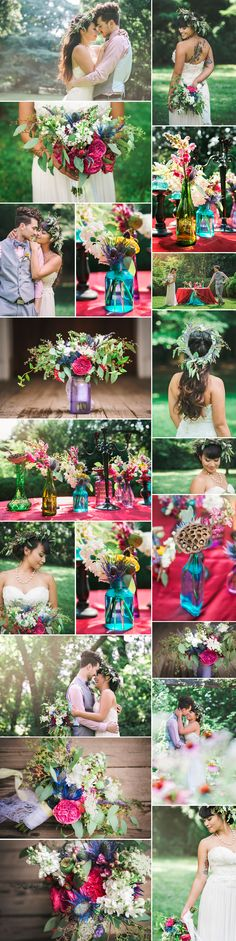 "Bright colors, lush fresh flowers, and gorgeous details: this bohemian-inspired styled shoot is leaving us speechless. A number of Nashville-based vendors got together at the romantic Travellers Rest Plantation to style and shoot a colorful indie wedding inspiration. The theme of the shoot was ""bohemian elegance"": the bride wore a lace and chiffon strapless gown …"