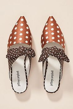 -- Jeffrey Campbell Polka Dot Charlin Mules -- only always Anthropologie, Jeffrey Campbell, Mules Shoes, Women's Shoes Sandals, Slingback Shoes, Suede Flats, Women Sandals, Shoes Sneakers, Vans Converse