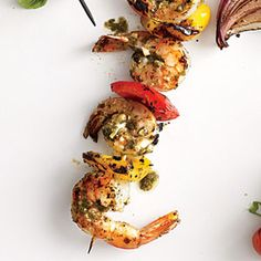 Fire up the grill and cue the mouth-watering goodness of pesto shrimp paired with grilled bell peppers.View Recipe: Pesto Shrimp Kebabs
