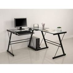 Corner Computer Desk Home Office Furniture Workstation Table L-Shape Black Glass Computer Desk, Glass Corner Desk, Desk With Keyboard Tray, Black Desk, Computer Desks, Top Computer, Corner Vanity, Vanity Set, L Shaped Glass Desk